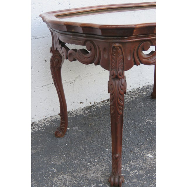 Early 20th Century French Early 1900s Hand Carved Coffee Table With Serving Glass Tray 2357 For Sale - Image 5 of 11