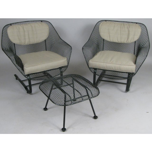 Metal Woodard Sculptura Lounge Chairs & Ottoman - Set of 3 For Sale - Image 7 of 7