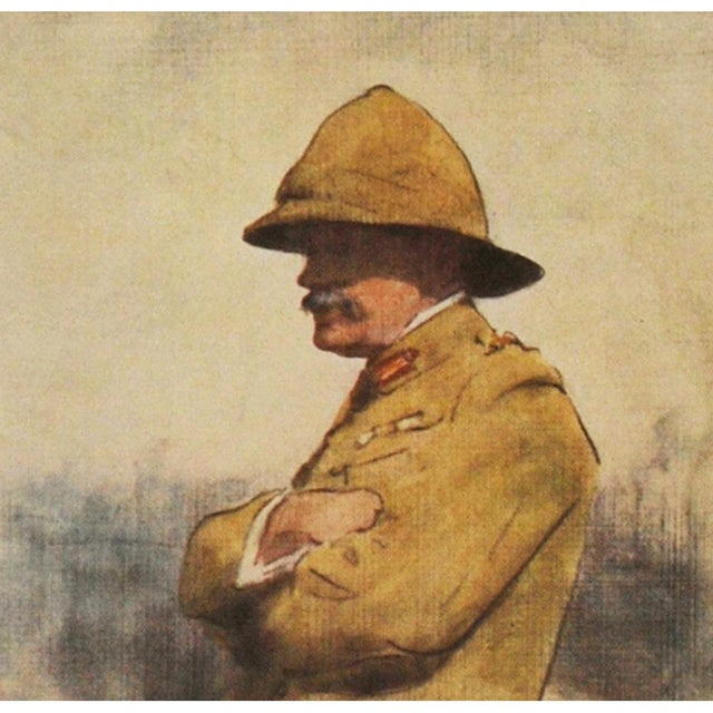 Impressionism 1901 Safari Style Original Portrait of Major General Wavell by M. Menpes For Sale - Image 3 of 8