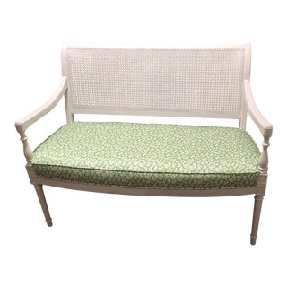 Vintage Cane Back Settee For Sale