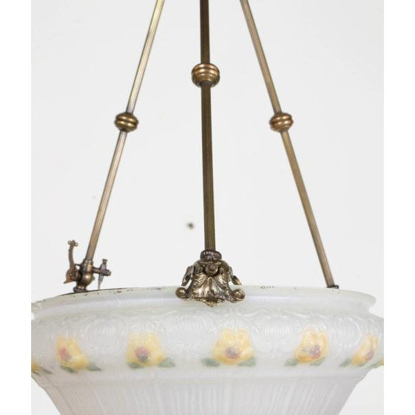 19th Century Yellow Floral Glass Bowl Pendant Light Fixture For Sale In Boston - Image 6 of 8