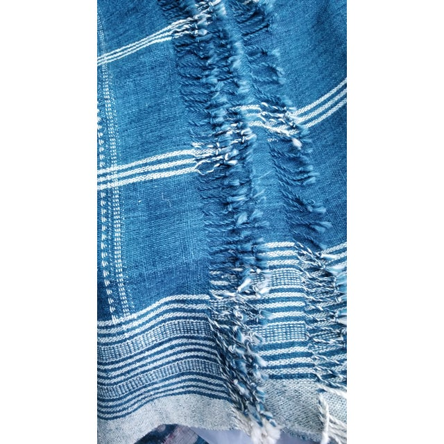 Shabby Chic Indigo With Shell Kutch Throw For Sale - Image 3 of 7