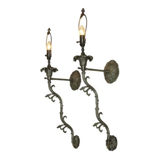 French Louis XV Style Bronzed Metal pair Electrified will Lights Sconces For Sale