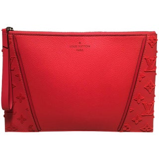 Like New Louis Vuitton Red Leather and Velour Monogram Wristlet Clutch For Sale