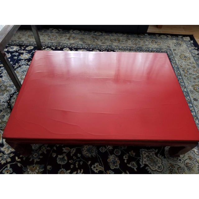 This Is An Antique Chinese Red Lacquer Table That Was Brought Here By Interior Decorator