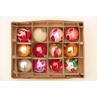 Miniature Blown Glass Christmas Ornaments - Set of 12 Preview
