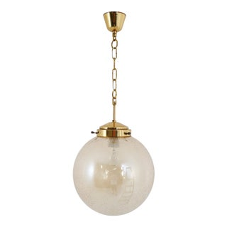 Globe Pendant Light, Brass and Smoked Glass, 1970s For Sale