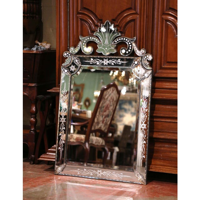 Decorate a powder room or a bedroom with this elegant, antique Venetian mirror. Rectangular in shape, the large overlay...