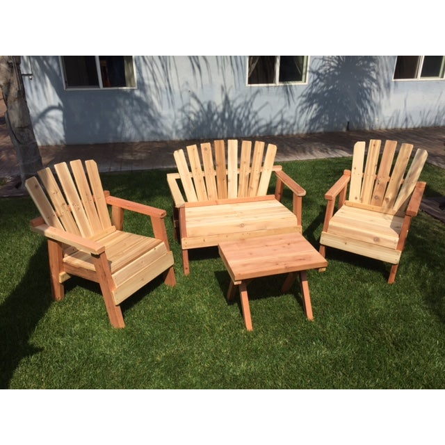 Natural Redwood Patio Set - Set of 4 - Image 2 of 11