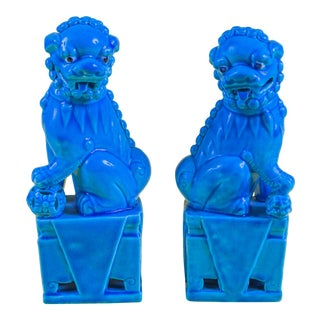 1960s Turquoise Ceramic Foo Dogs For Sale
