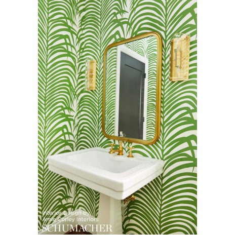 Contemporary Sample - Schumacher Zebra Palm Pattern Animal Floral Wallpaper in Jungle Green For Sale - Image 3 of 4