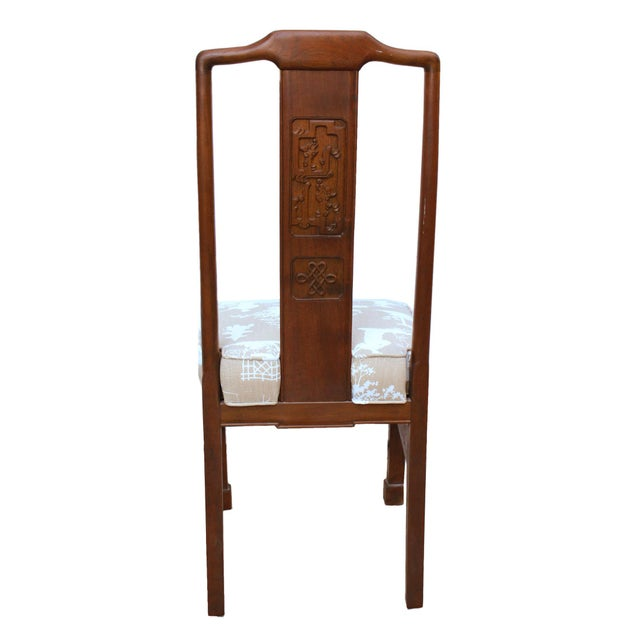Mid-Century Modern Vintage Chinoiserie or Ming Style Dining Chairs in Reverse Toile - Set of 4 For Sale - Image 3 of 7