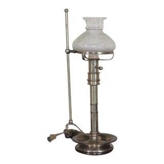 Frederick Cooper Brass Oil Lamp Style Table Lamp With Globe For Sale