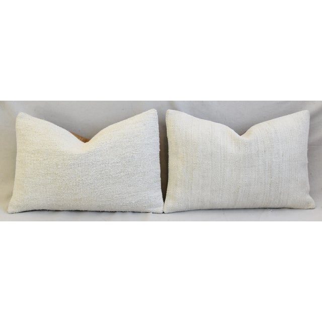 "Neutral Organic Hemp/Cotton Kilim Feather/Down Pillows 24"" X 16"" - Pair For Sale - Image 4 of 8"