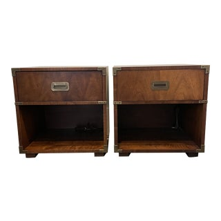 Mid 20th Century Campaign Henredon Mahogany Nightstands - a Pair For Sale