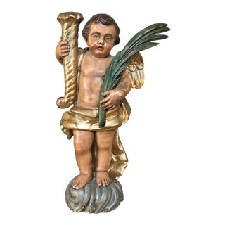 19th Century Italian Hand Carved & Painted Cherub For Sale