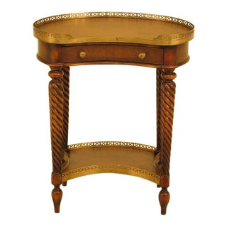 Theodore Alexander Kidney Shaped Leather Top End Table For Sale