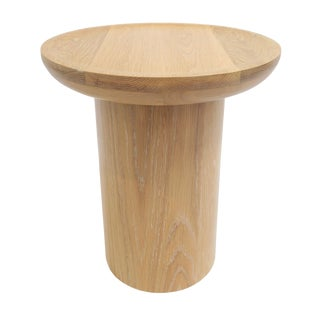 Tall Round Side Table With Pedestal Base in Cursed Oak by Martin and Brockett For Sale