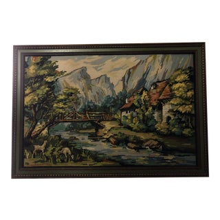 Large Vintage Framed Embroidery Needlepoint Art Picture Pastoral Scene For Sale