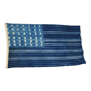 "Boho Chic Indigo Blue & White Flag From African Textiles 61"" X 36"""