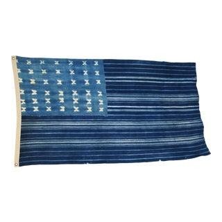 "Boho Chic Indigo Blue & White Flag From African Textiles 61"" X 36"""