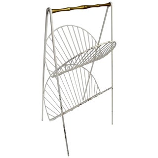 Iron and Brass Catch All Shelf Magazine Rack For Sale