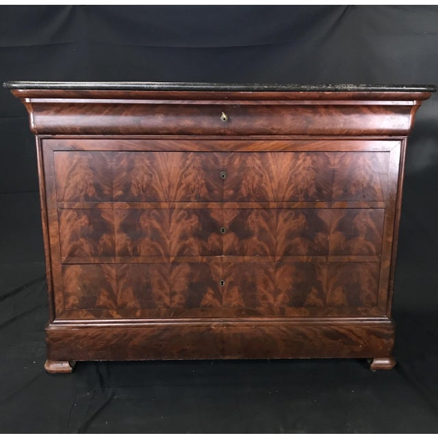 French Empire Marble-Top Burled Walnut Chest of Drawers For Sale - Image 10 of 11
