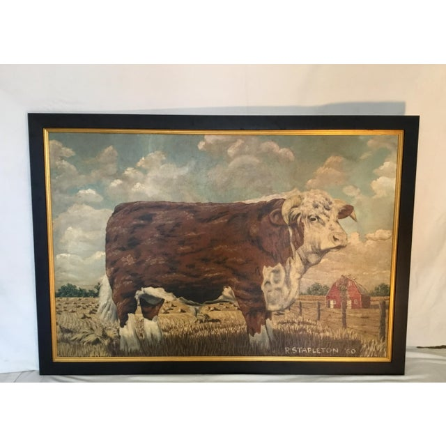 Hereford Bull ~ Oil on Canvas For Sale - Image 12 of 12
