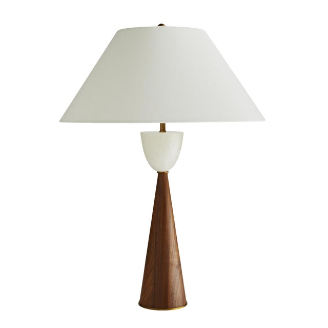 Arteriors Mid-Century Modern Style Walnut and Marble Stanford Table Lamp For Sale