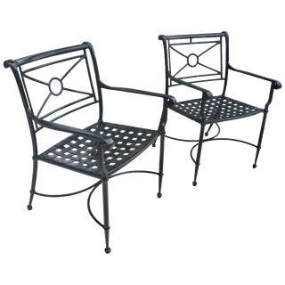 Brown Jordan Patio Armchairs in Black - a Pair For Sale