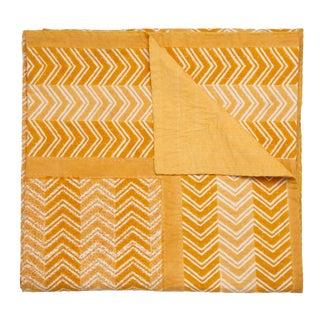 Chevron Hand Stitched Quilt, Queen - Ocher For Sale