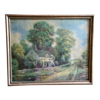"""1930s R. Atkinson Fox Framed Lithograph Print """"The Old Home"""" For Sale"""
