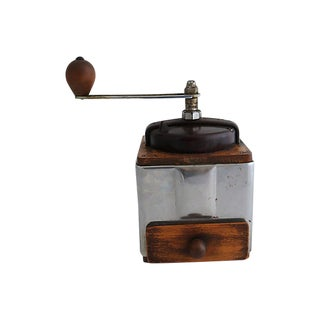 Vintage French Wood & Chrome Coffee Grinder For Sale