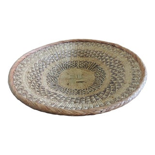 Large Tribal Round Woven Basket in Natural and Brown With Braided Rim For Sale