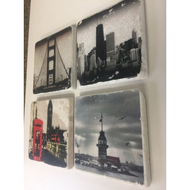 Mid-Century Modern World Cities Coaster, Set of 4 For Sale - Image 3 of 9