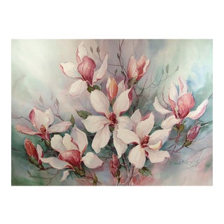 Magnolia Tree Watercolor Painting by Barbara Mock For Sale