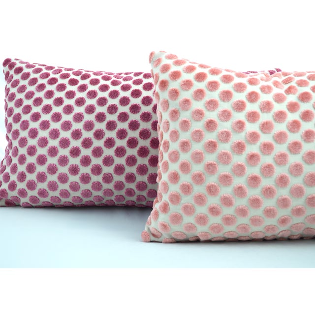 Boho Chic FirmaMenta Italian Light Pink Velvet Polka Dot Lumbar Pillow For Sale - Image 3 of 5