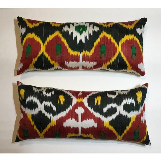 Silk Ikat Lumbar Pillows - a Pair For Sale - Image 9 of 13