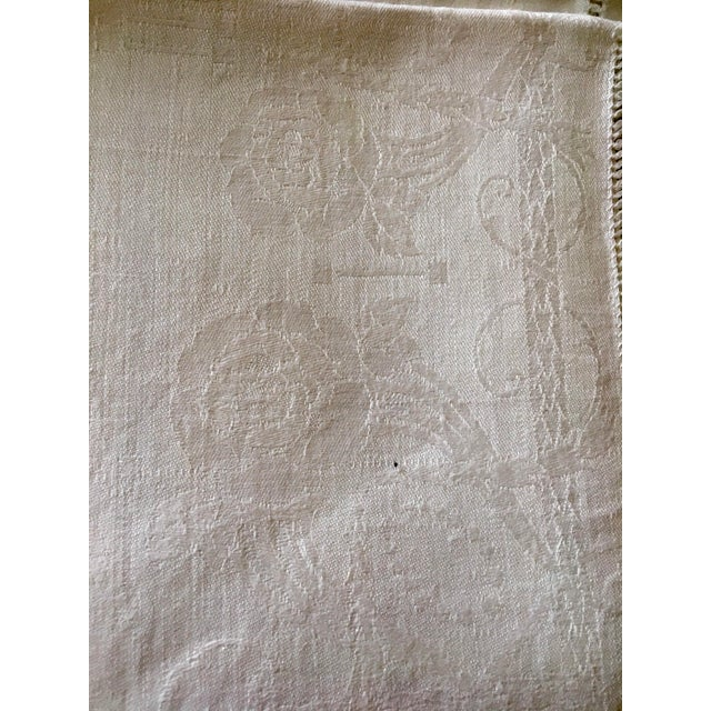 English Antique White Linen Damask Napkins - Set of 9 For Sale - Image 3 of 7