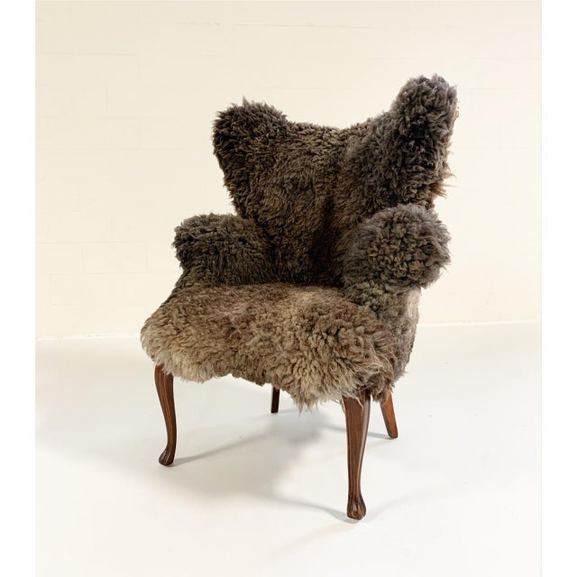 Wood Vintage Nick Cave Wingback Armchair Restored in California Sheepskin For Sale - Image 7 of 11