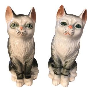 Vintage Ceramic Cat Figurines - a Pair