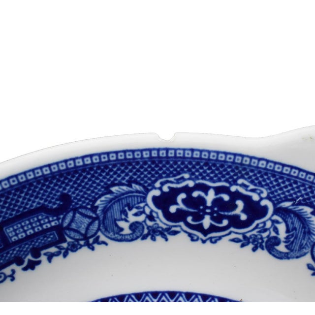 Asian Willow Ware Royal Blue & White Plate For Sale - Image 3 of 4