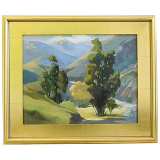 Vintage Plein Air Lush Mountain Landscape Oil Painting