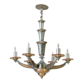 1930s French Deco Chrome-Plated Chandelier by Petitot For Sale