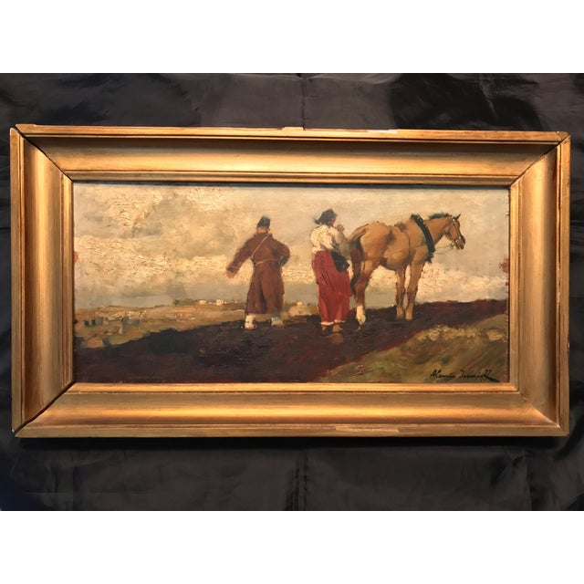 Early 20th Century Antique Alessio Issupoff Russian Peasant Scene Oil on Panel Painting For Sale - Image 13 of 13