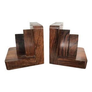 Vintage Mid Century Modern Art Deco Architectural Rosewood Bookends - a Pair For Sale