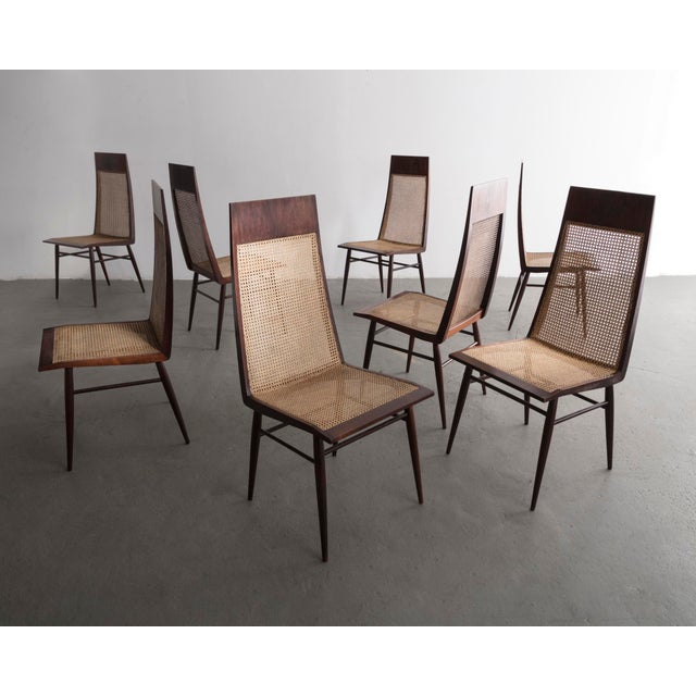 Set of Eight (8) Dining Chairs in Rosewood With Cane Seat and Back For Sale In New York - Image 6 of 6