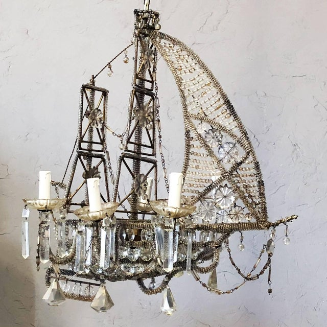 French 20th Century Crystal Beaded Ship Chandelier by Maison Baguès For Sale - Image 3 of 5