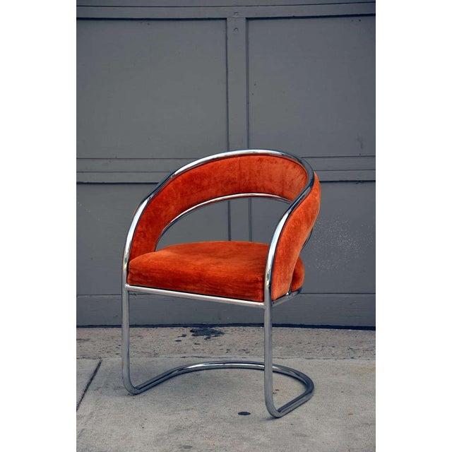 Modern Unique 70's Orange Velvet and Chrome Armchair For Sale - Image 3 of 8