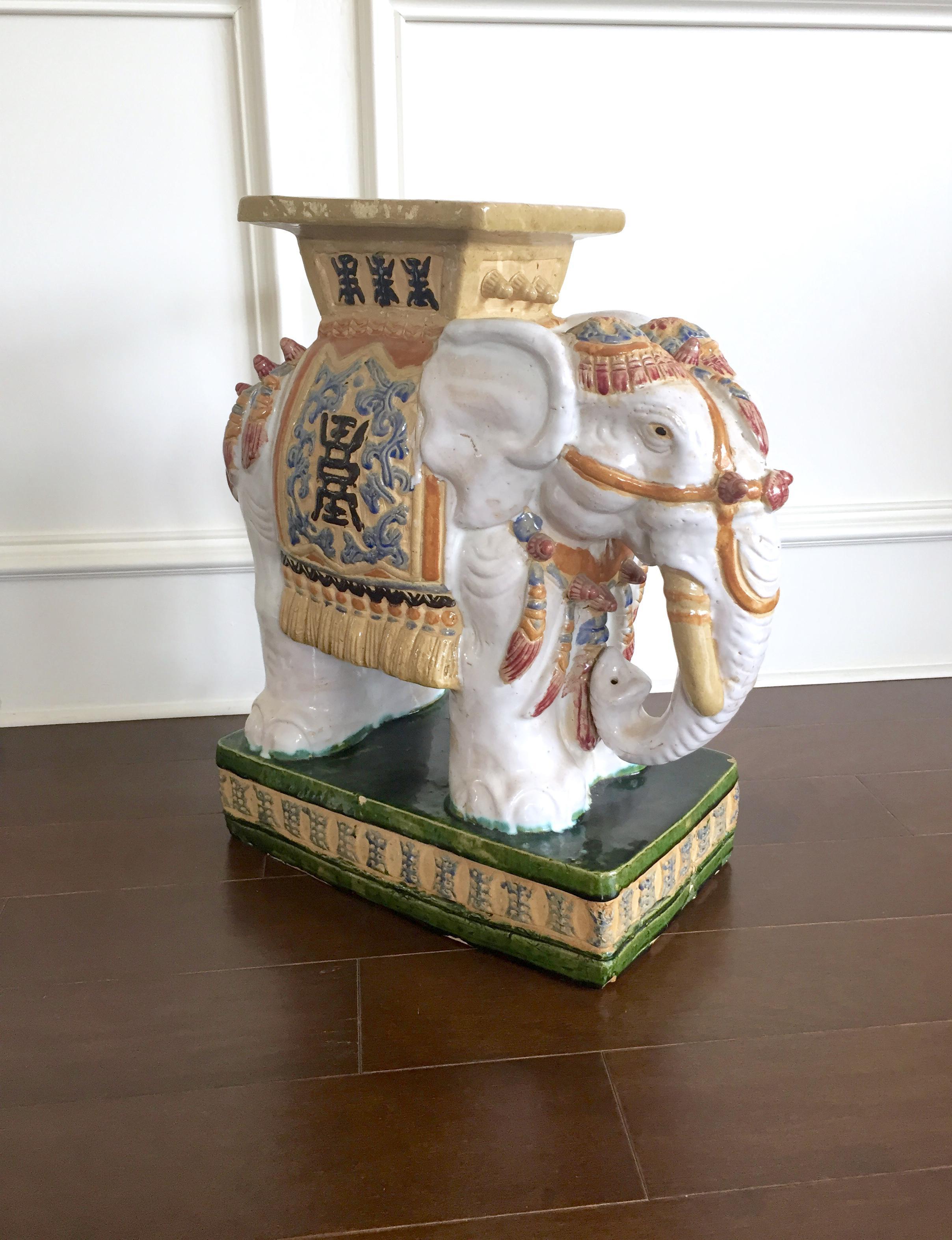 Vintage Colorful Ceramic Elephant Garden Stool   Image 3 Of 11
